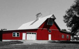 Colored Barn with B&W background